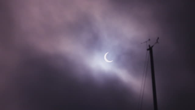 WS View of solar eclipse / Redondo Beach, California, United States