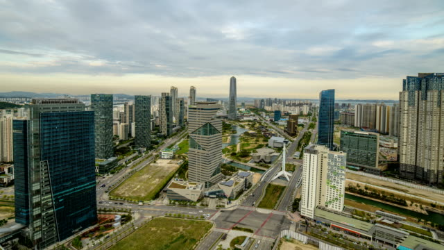 View of Songdo(International Business District) Central Park and G-Tower