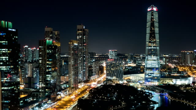 View of Songdo International Business District (A new smart city or 'ubiquitous city' of South Korea) at night