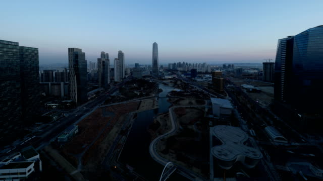 View of Songdo International Business District (A new smart city or 'ubiquitous city' of South Korea) at sunset