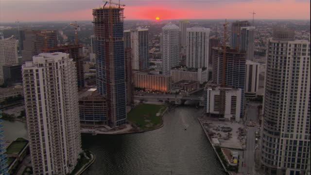 WS ZO POV AERIAL View of South Beach under twilight sky/ Miami, Florida, USA