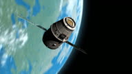 WS TS View of Space Dragon spacecraft as it swoops past with Earth and Sun