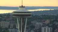 WS AERIAL ZO TD View of Space Needle tower / Seattle, Washington, United States