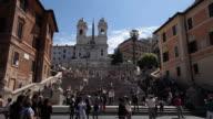WS View of Spanish Steps and Trinita die Monti church / Rome, Lazio, Italy