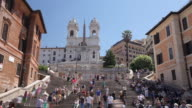 WS T/L View of Spanish Steps and Trinita die Monti church / Rome, Lazio, Italy