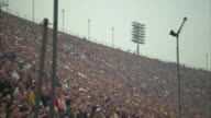 WS PAN View of spectator at University of Southern California stadium / Los Angeles, USA