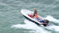 WS AERIAL View of speed boat in ocean / Rio de Janeiro, Brazil