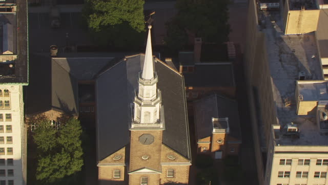 MS AERIAL DS ZI View of spire of Trinity and St Philips Cathedral and First Presbyterian Church / Newark, New Jersey, United States