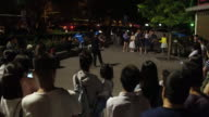 A view of square dancing in famous Houhai Area on May 6 2017 in Beijing China