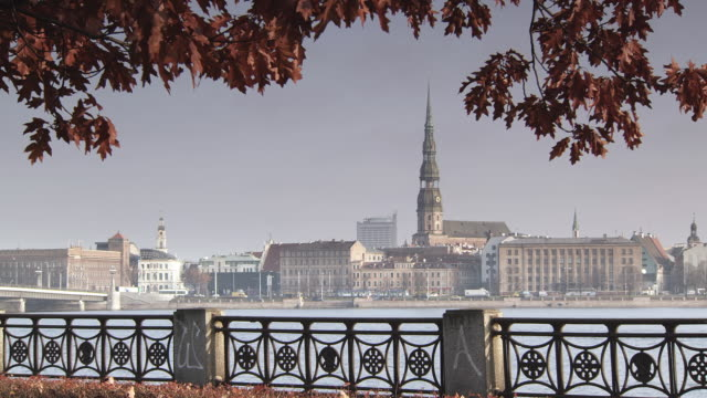 WS View of St Peter's Cathedral Across Daugava River / Riga, Latvia