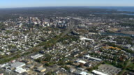 WS AERIAL PAN ZI View of Stamford city / Connecticut, United States
