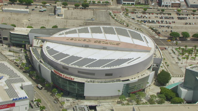 WS ZI AERIAL POV View of Staples Center in downtown Los Angeles / Los Angeles, California, United States