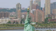 CU AERIAL DS ZO View of Statue of Liberty on Liberty Island / New Jersey, United States