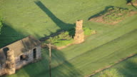 WS AERIAL View of Stockade and ruins with chimney / Fort Gibson, Oklahoma, United States