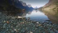 WS POV View of stream at Glacier National Park / Glacier National Park, Montana, USA