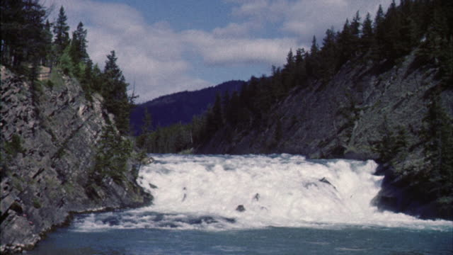 WS View of Stream flowing to rapids in front of mountains
