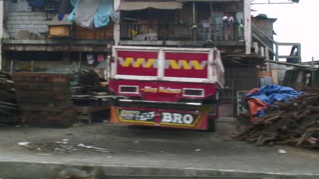 WS POV View of street / Manila, Philippines