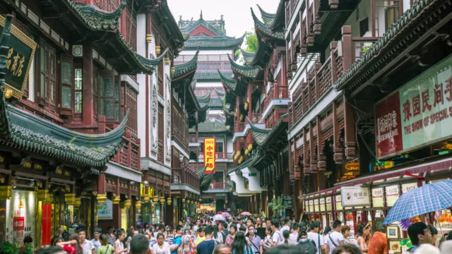 View of street with crowd in Yu Garden(Travel Destinations)