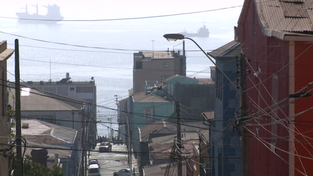 WS View of Street with sea and boat in background / Valparaiso, Chile