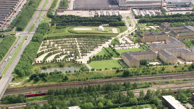 WS AERIAL PAN View of Suburbs south of Copenhagen and big apartment complex / Copenhagen, Denmark