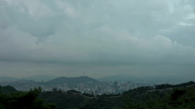 WS T/L View of Sukjeongmun gate on Bukaksan Mountain withl Cityscapet / Seoul, South Korea
