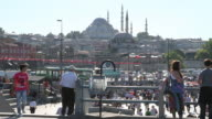 WS View of Sultanahmet mosque surrounding area with people / Istanbul, Turkey