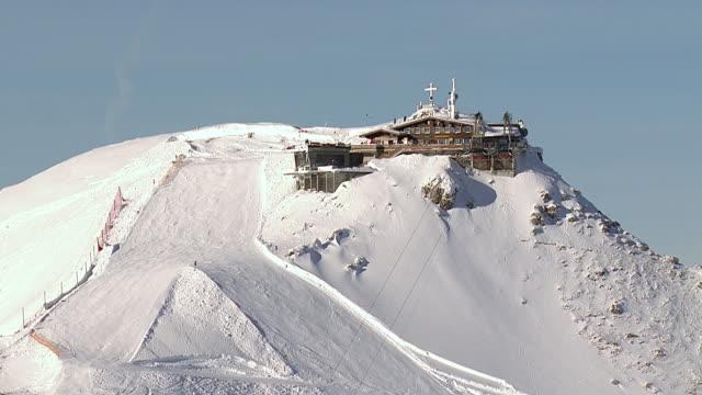 WS AERIAL View of Summit station of Nebelhorn in Allgau / Oberstdorf, Bavaria, Germany