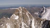 WS AERIAL View of summits of Schreckhorn and Lauteraarhorn coming from south / Schreckhorn, Bern, Switzerland