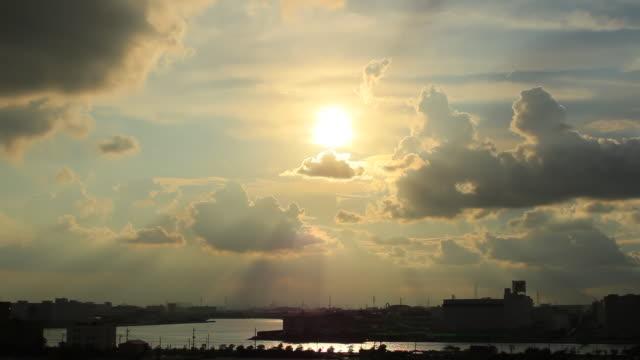 WS View of sunbeams shining through dark clouds / Chiba, Japan