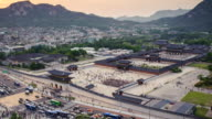 WS T/L View of sunset at Gyeongbokgung Royal Palace / Seoul, South Korea