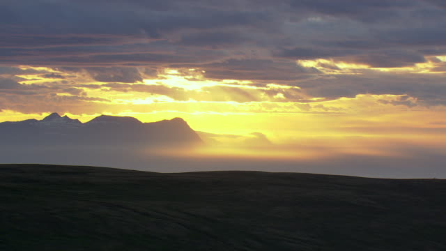 WS AERIAL View of Sunset at Hornstrandir / Iceland