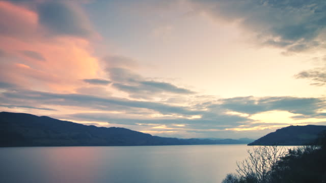 WS T/L View of Sunset over Loch Ness, clouds / Loch Ness, Scotland, United Kingdom