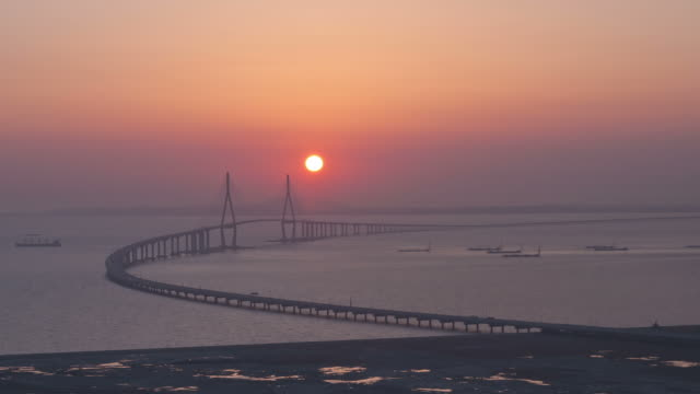 WS T/L View of Sunset scene and Nightscape of Incheon Grand Bridge (is South Korea's longest spanning cable-stayed bridge ) / Incheon, South Korea