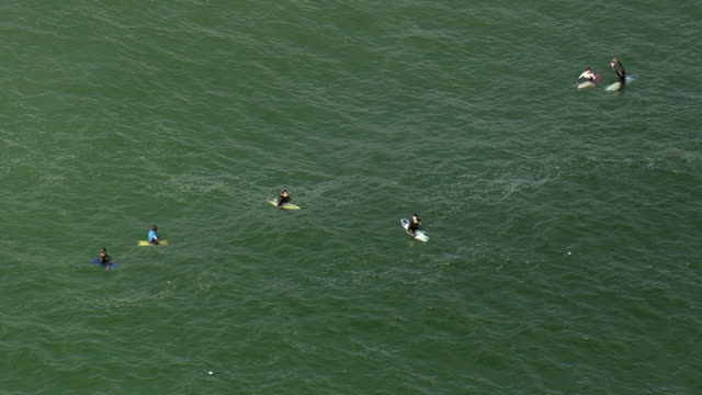 WS AERIAL View of surfer in see / Rio de Janeiro, Brazil