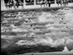 B/W View of swimming race  Audio / Palm Beach, Florida, United States
