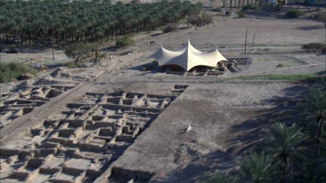 WS AERIAL POV View of synagogue-archeological in desert / Ein Gedi, Judea Desert, Israel