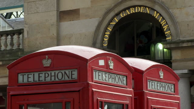 MS View of telephone booth sign / London, England, Great Britain