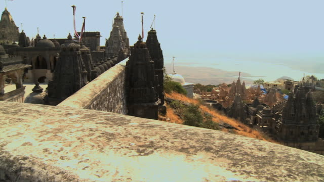 WS PAN View of temple in town from hill / Rajkot, India