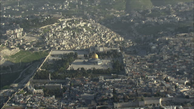 WS ZI AERIAL View of temple Mount in Jerusalem / Jerusalem, Israel