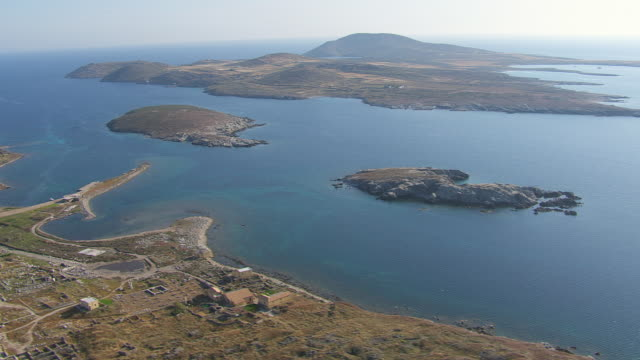 WS AERIAL View of temple ruin of delos and theatre of epidaurus / Delos, Cyclades, Greece