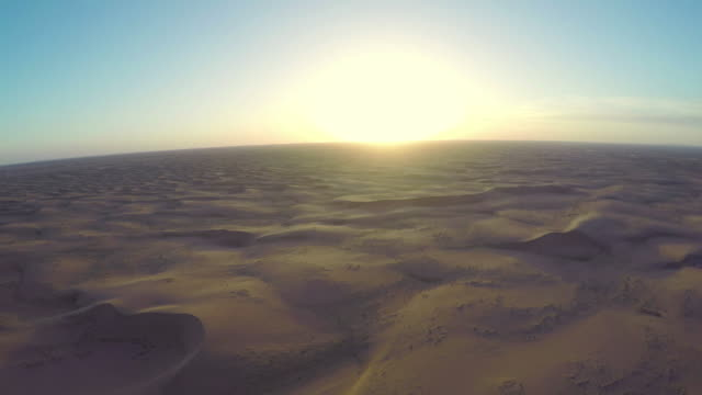 AERIAL View of Tengger Desert at sunset/Alashan, Inner Mongolia, China.