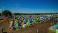 WS T/L View of Tents in campsite at music festival / United Kingdom