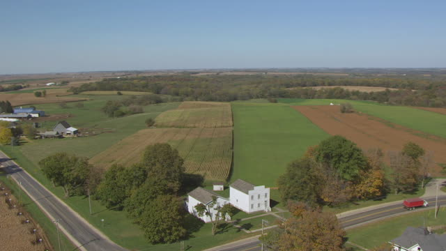WS AERIAL DS View of Territorial Capitol buildings and surrounding farms in Lafayette County / Belmont, Wisconsin, United States