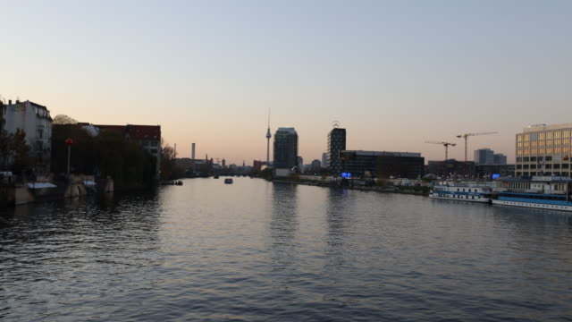 A view of the Alexandertower over the Spree, Berlin.