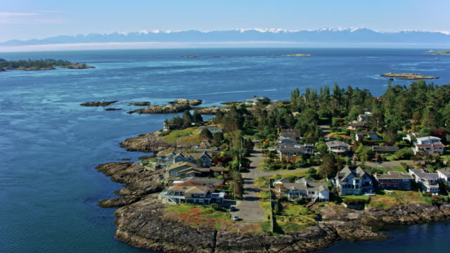 AERIAL View of the Baynes beach, Victoria, Canada