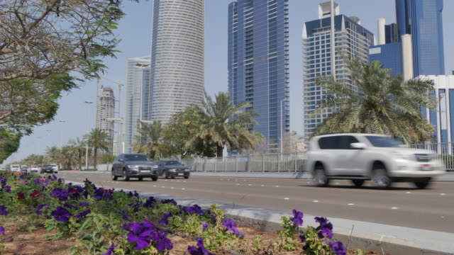 View of the Corniche Road to the Landmark building, Abu Dhabi, United Arab Emirates, Middle East, Asia