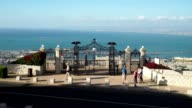 View of the gate of the Shrine of the Bab on Mount Carmel in Haifa