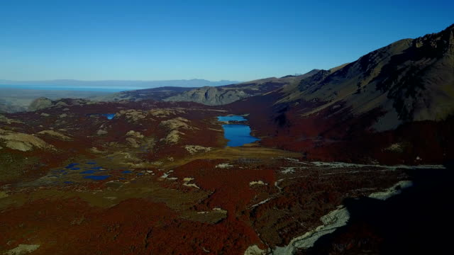View of the Glaciar Piedras Blancas and autumn forest from a height. Patagonia, Argentina
