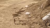 A view of the site of a landslide on Rafah border in Gaza on November 04 2015 A major landslide late Tuesday in the southern border area between the...