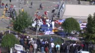 View of the site of an explosion close to Ankara's main train station on October 10 2015 in Ankara Turkey An explosion hit Ankara train station...